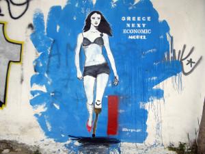 Γκράφιτι σε δρόμο της Αθήνας από τους Bleeps.gr. Φωτογραφία: Sylvia Poggioli (www.npr.org)